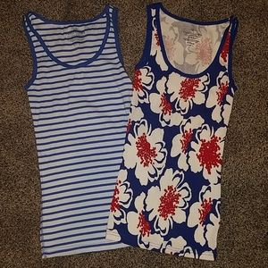 2) Faded Glory blue stripe red tank tops small